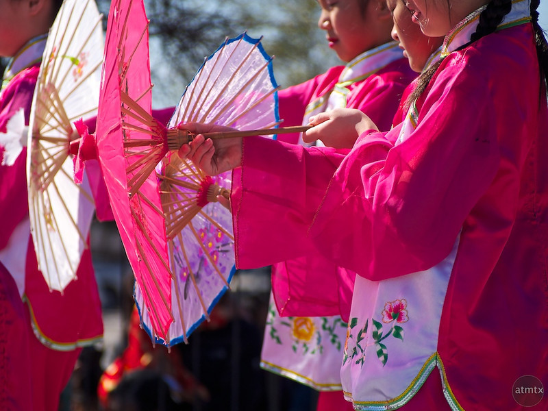 Dancing with Paper Parasols, 2013 Chinese New Year Celebration - Austin, Texas