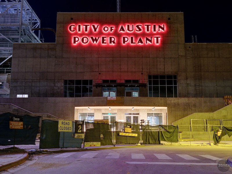Bold Red Sign, Seaholm Power Plant - Austin, Texas