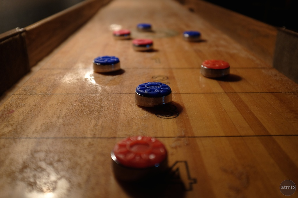 Shuffle Board at the Javelina, Rainey Street - Austin, Texas