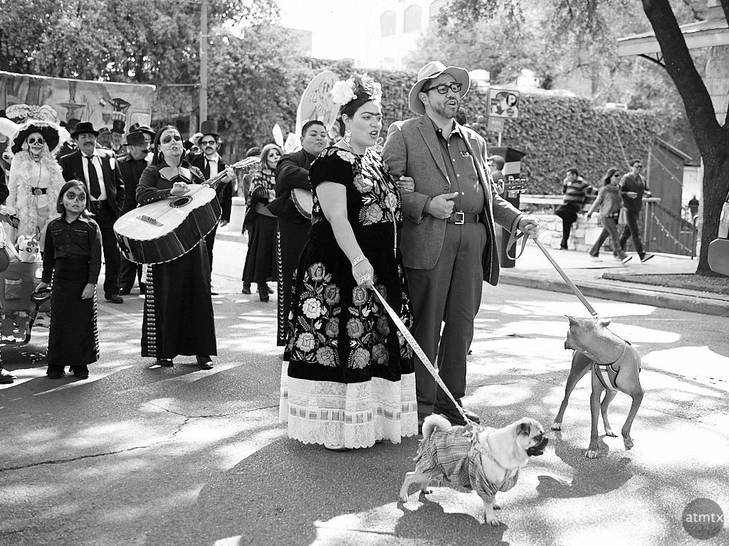 Frida Kahlo and Pets, Dia de los Muertos Parade - Austin, Texas