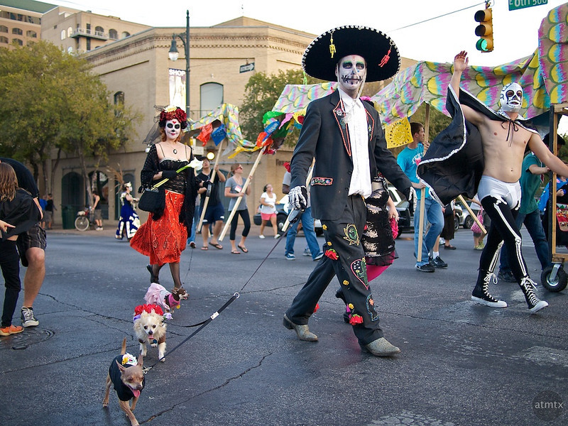 Tall Man and Small Dogs, Dia de los Muertos Parade - Austin, Texas