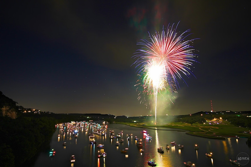 Fireworks over Lake Austin - Austin, Texas