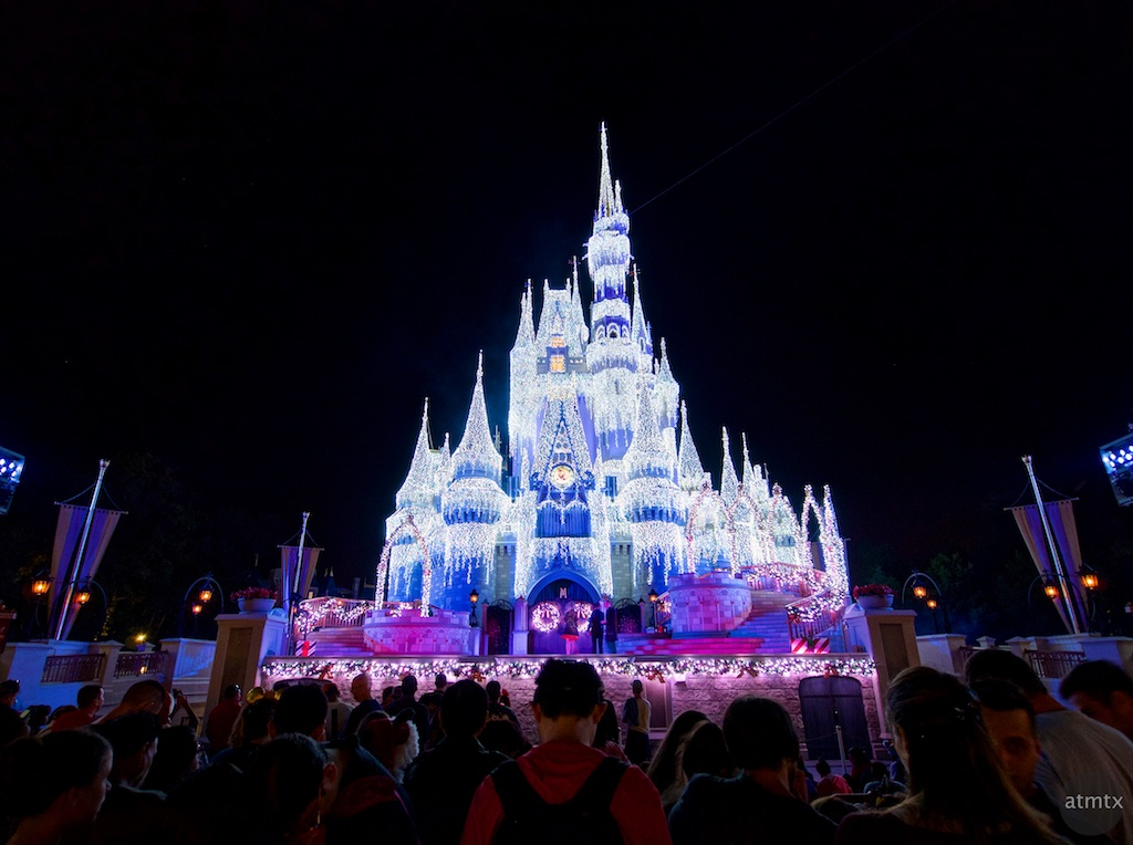 Cinderella Castle with Holiday Lighting, Disney World - Orlando, Florida