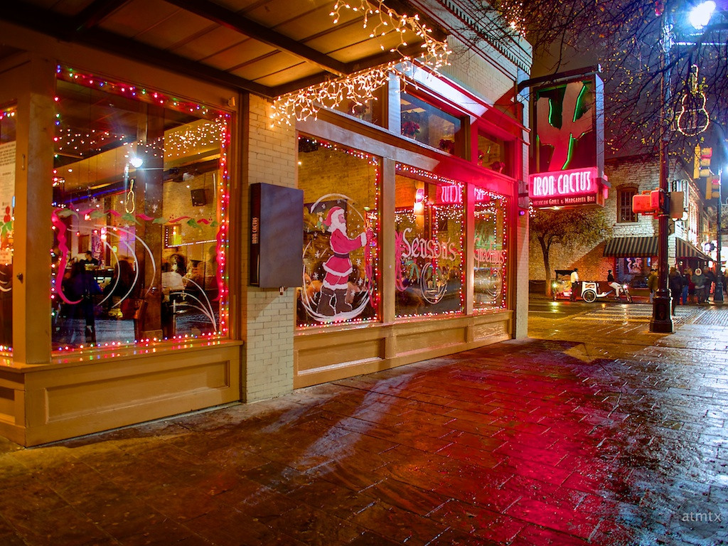 Holiday Decorations at the Iron Cactus - Austin, Texas