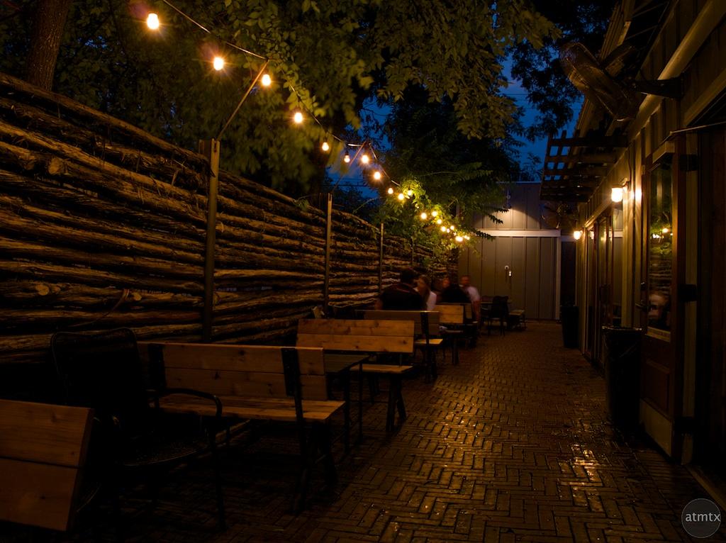 Textured Fence at Night, Rainey Street - Austin, Texas