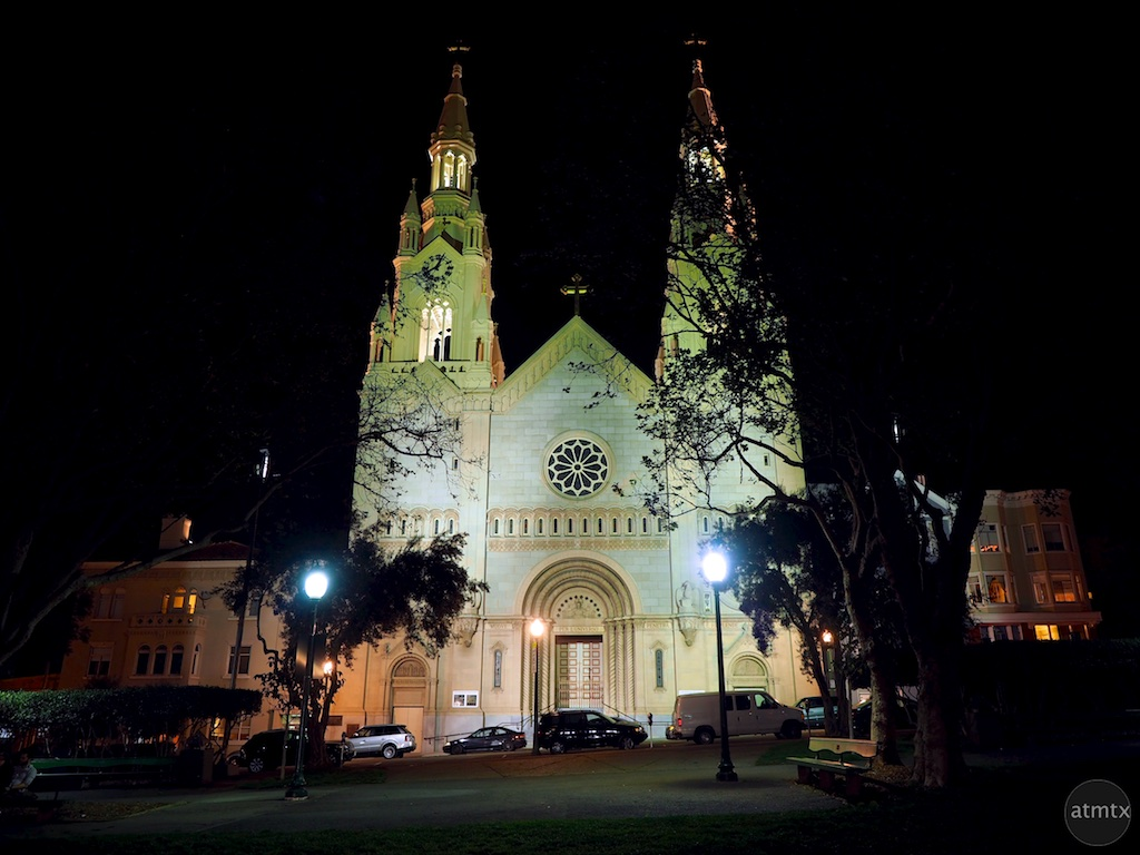 Saints Peter and Paul Church at Night - San Francisco, California