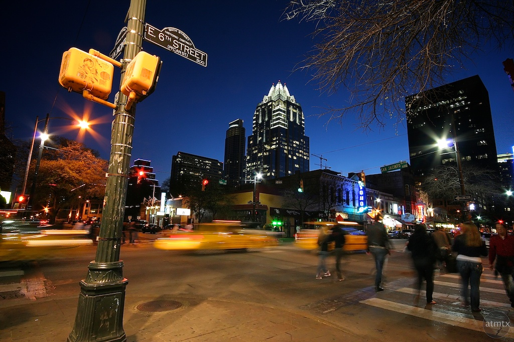 Taxis on 6th Street - Austin, Texas
