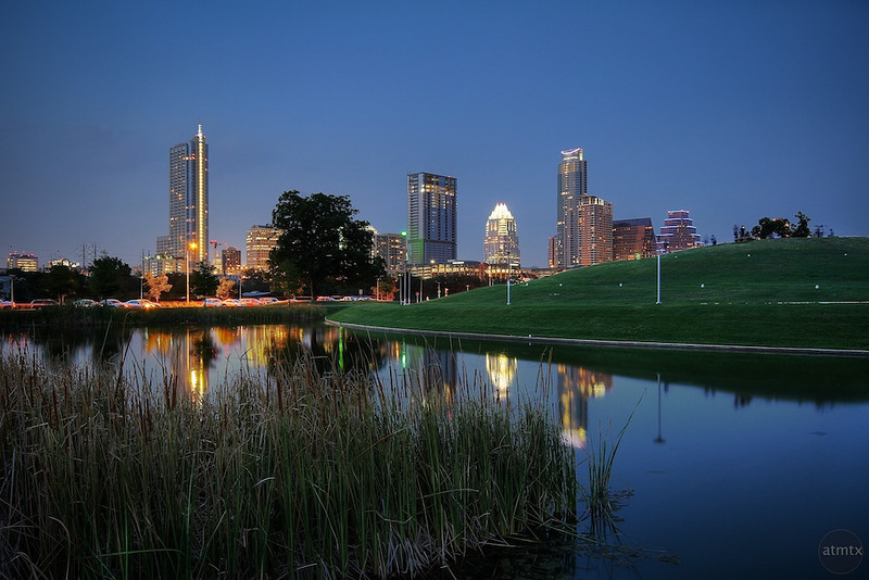 Downtown Skyline and Reflecting Pond - Austin, Texas