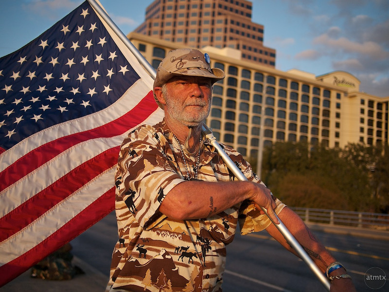 Larry with Flag, Occupy Austin Movement - Austin, Texas