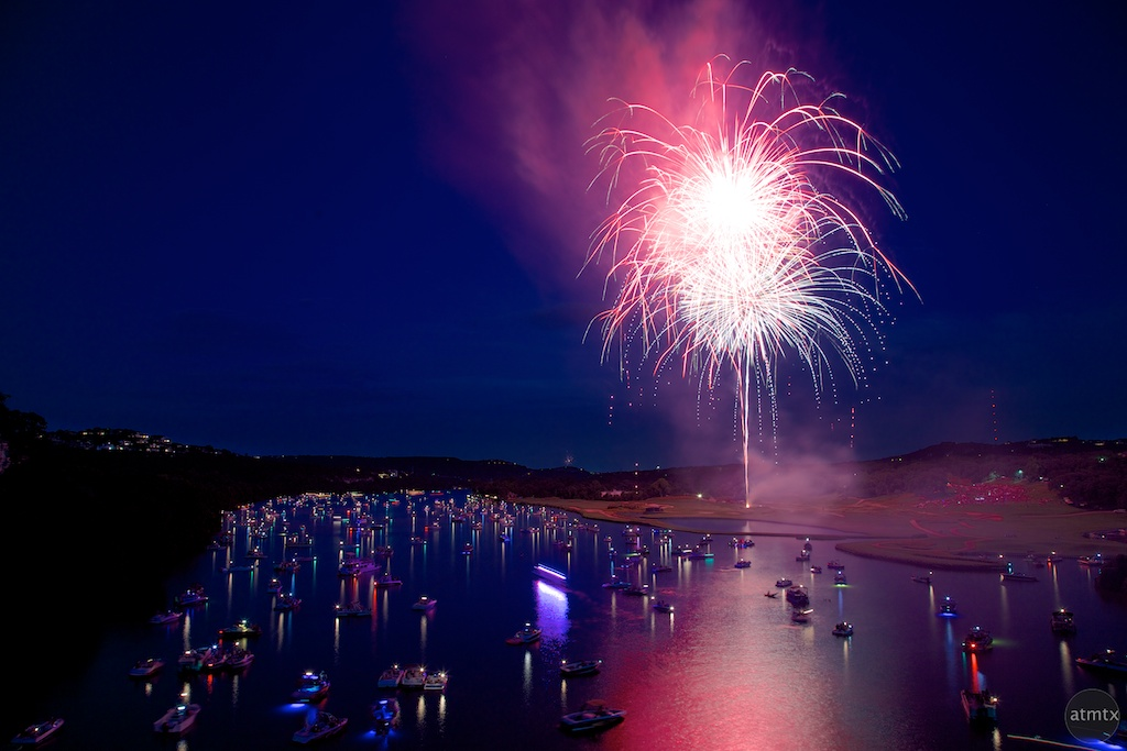 Red, White and Blue, Fireworks over Lake Austin - Austin, Texas