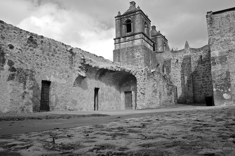 Mission Concepcion Courtyard Detail - San Antonio, Texas
