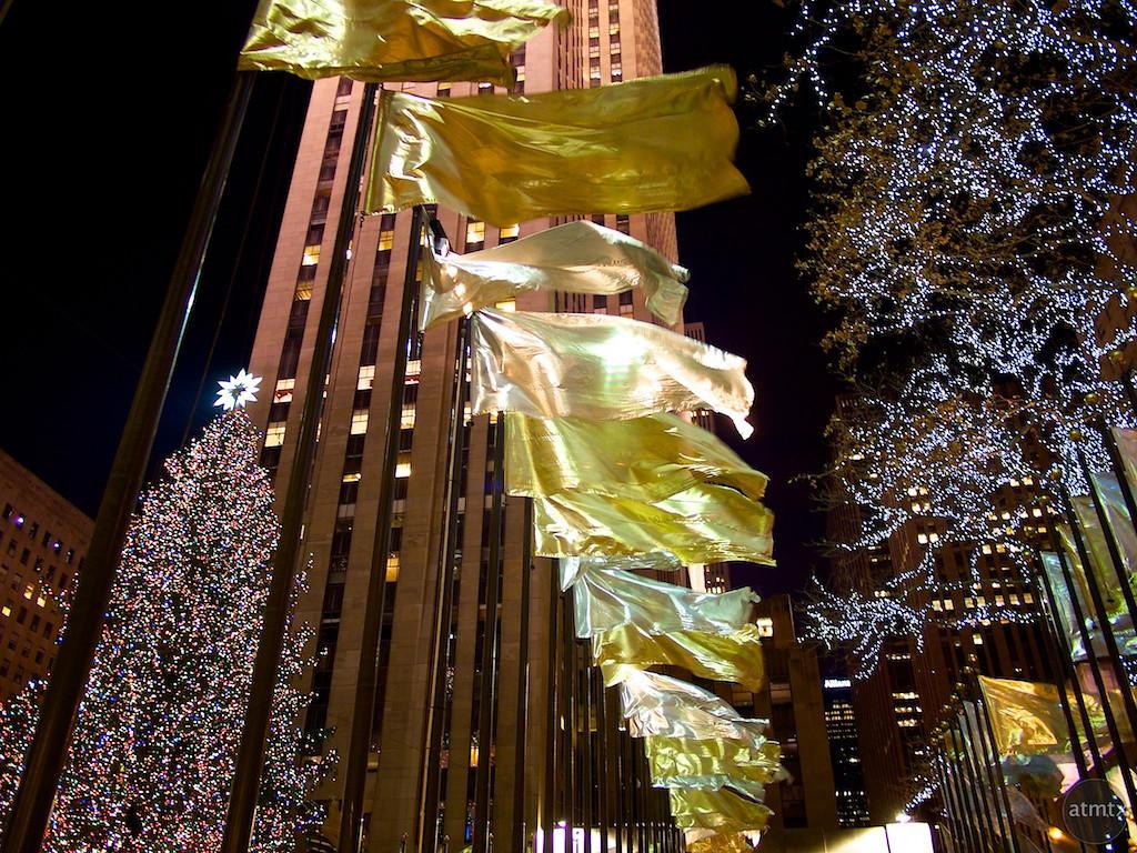 Golden Flags, Rockefeller Center - New York, New York
