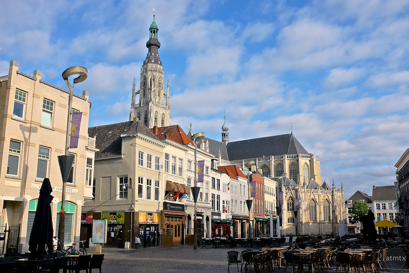 Grote Church and Cafes - Breda, Netherlands