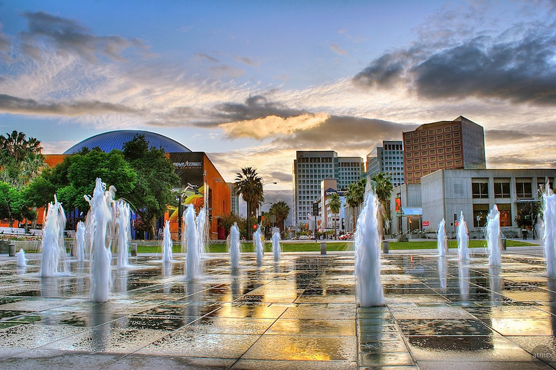 Plaza de Cesar Chavez Park at Dusk - San Jose, California
