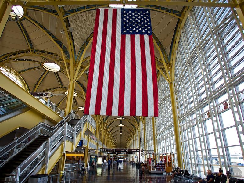 Old Glory in wide-angle, Reagan Washington National Airport - Washington DC