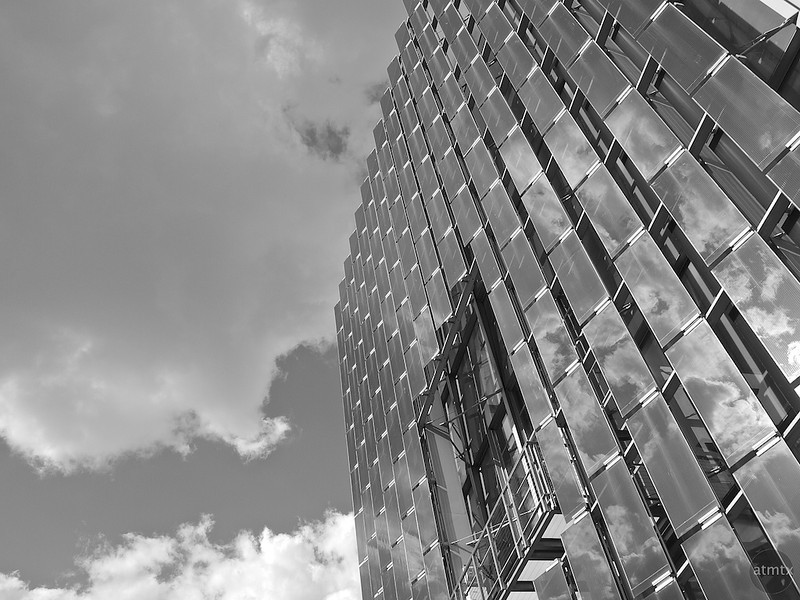 Austin Convention Center, Facade with Clouds - Austin, Texas
