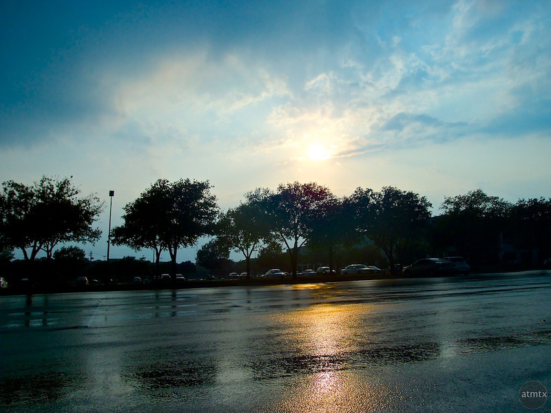 After the Rain, Suburban Parking Lot - Austin, Texas