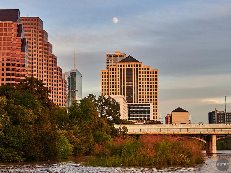Moon over Downtown Austin - Austin, Texas