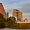 Moon over Downtown Austin - Austin, Texas