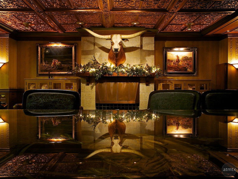 Longhorn Reflection, Driskill Bar Lounge - Austin, Texas