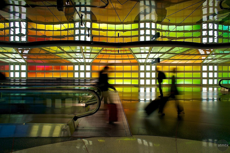 Colorful Hallway, Terminal 1 O'Hare Airport - Chicago, Illinois