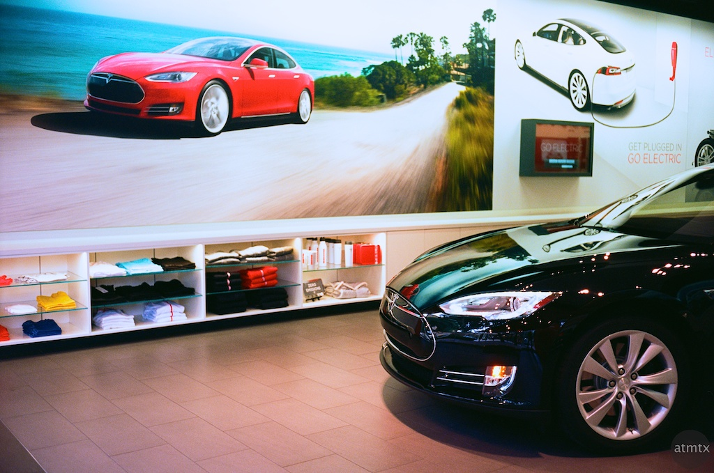 Tesla Showroom Glows - Austin, Texas