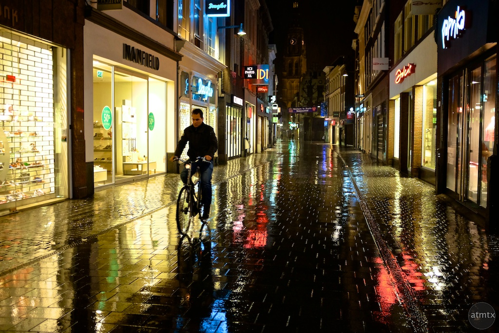 Cyclist on Rain Soaked Streets - Breda, Netherlands