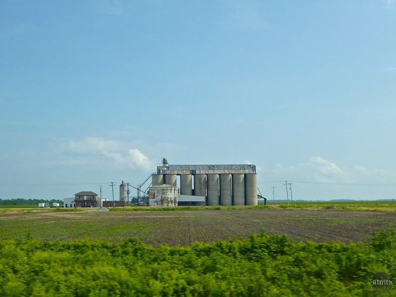 Grain Silos from Car - Interstate 30, Arkansas
