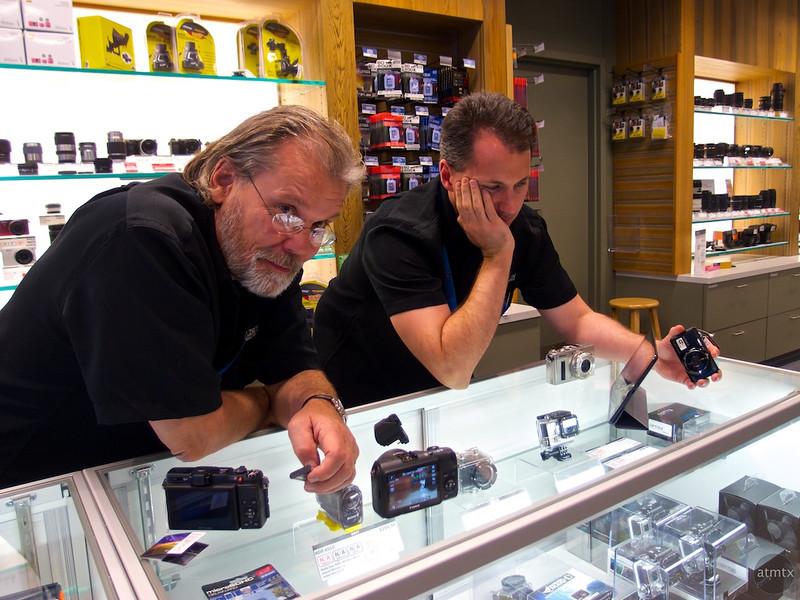 Jon and Ron enjoy the Mirrorless party, Precision Camera - Austin, Texas