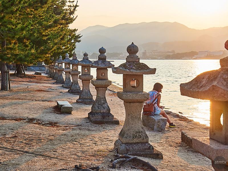 Lanterns at Golden Hour - Miyajima, Japan