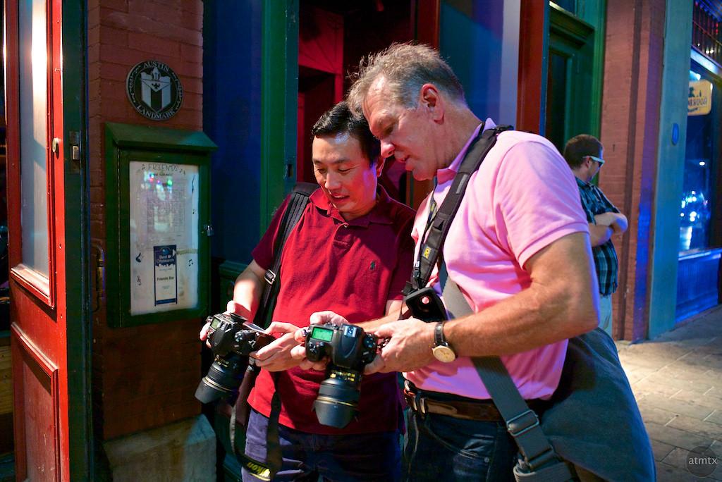 Reviewing a pair of Nikon D800s, 6th Street - Austin, Texas