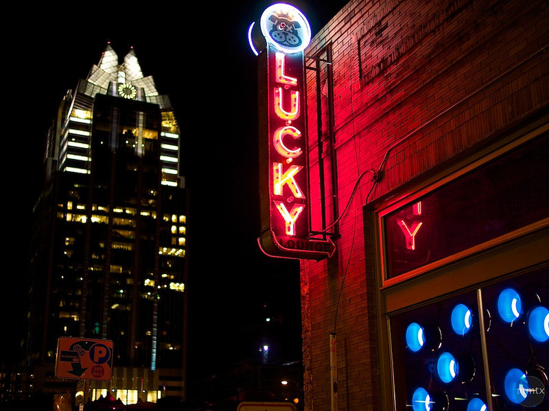 Lucky Neon and Frost Tower - Austin, Texas