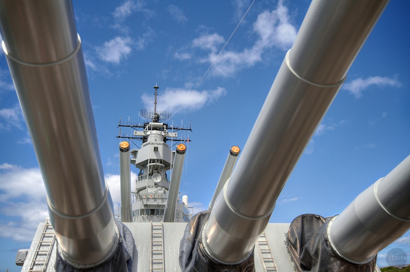 The Guns of the USS Missouri - Pearl Harbor, Oahu, Hawaii