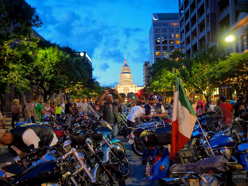 Blue hour at the Capitol, 2015 ROT Rally Parade - Austin, Texas