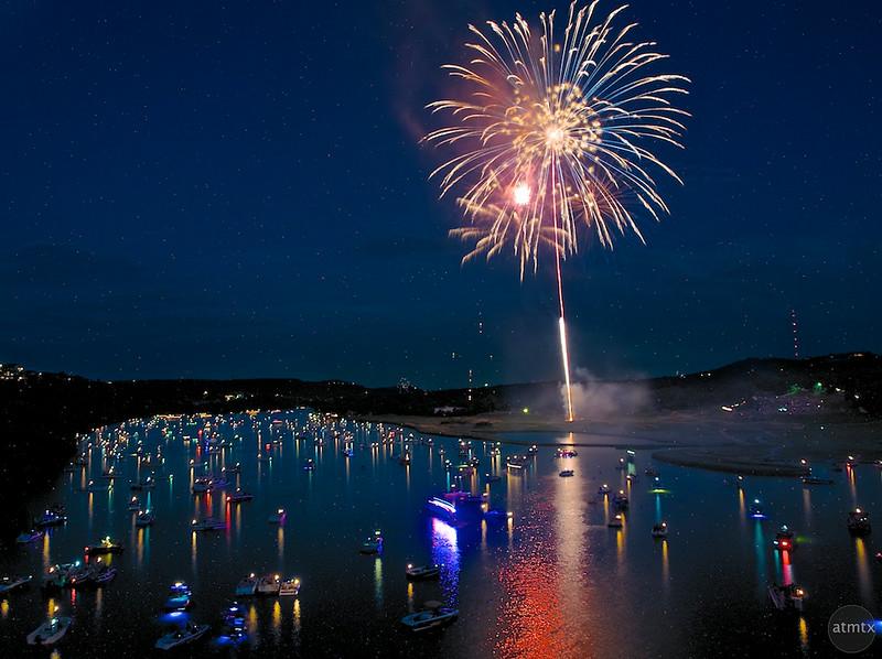 Fireworks over Lake Austin (2014) Olympus E-1 After - Austin, Texas