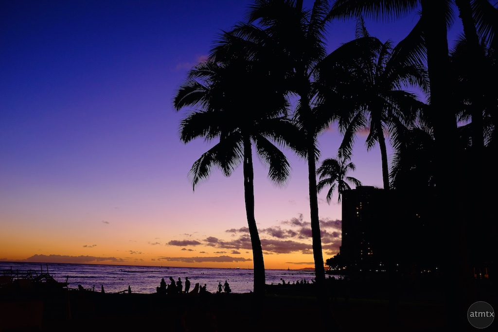 Sunset Silhouette, Waikiki Beach - Honolulu, Hawaii