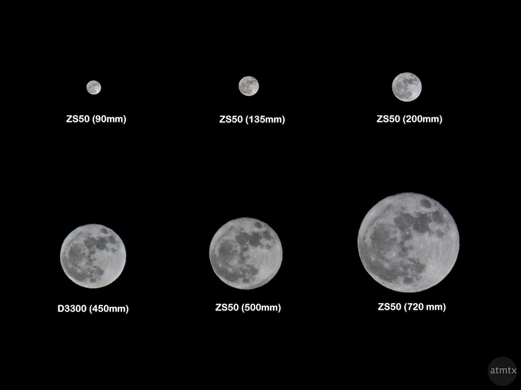 Supermoon at different focal lengths - Austin, Texas