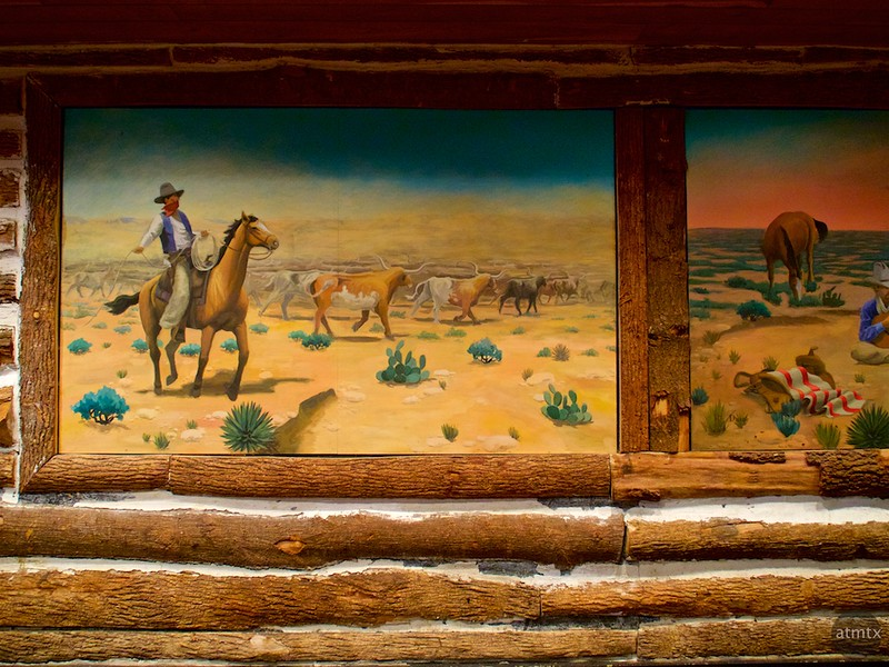 Old West Mural, Texas Land and Cattle - Austin, Texas