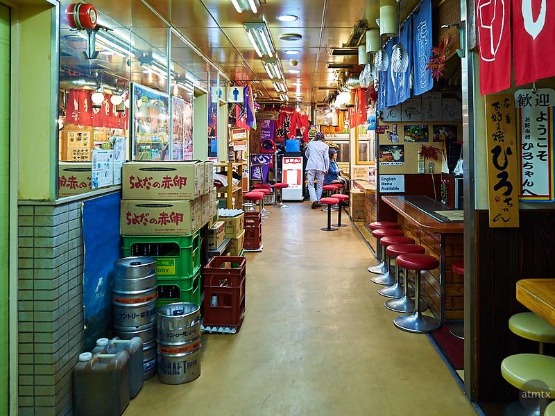 Okonomimura hallway with food stalls - Hiroshima, Japan