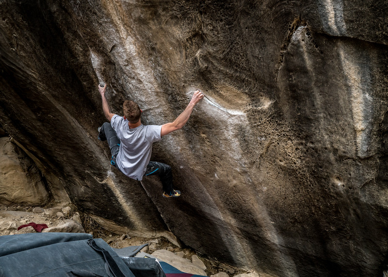 Area: Joes Valley, UT (Left Fork)<br /> Boulder: Beyond Life Sit V12<br /> Climber: Mike Mills