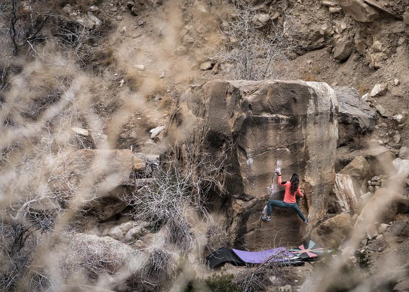 Area: Joes Valley, UT (New Joes)<br /> Boulder: Gatorade V5<br /> Climber: Sarah Luk