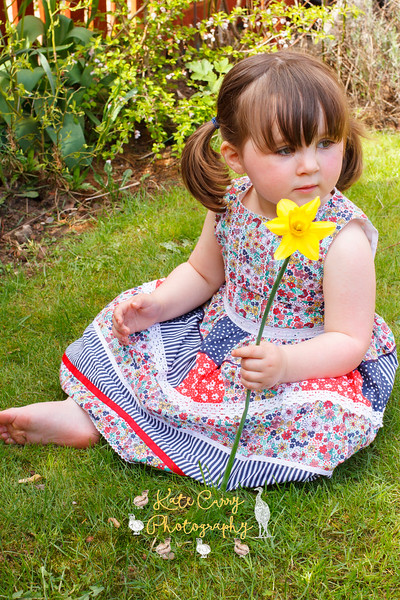 Little girl with daffodil in the garden, Musselburgh.