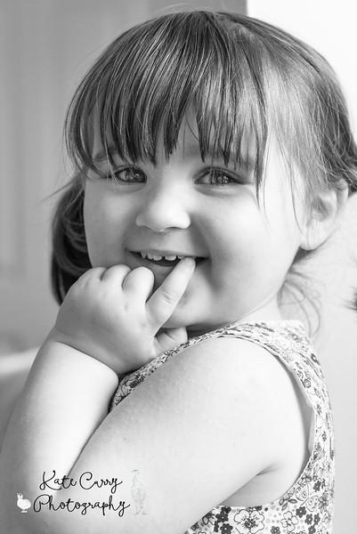 Preschool girl in pigtails, Musselburgh.
