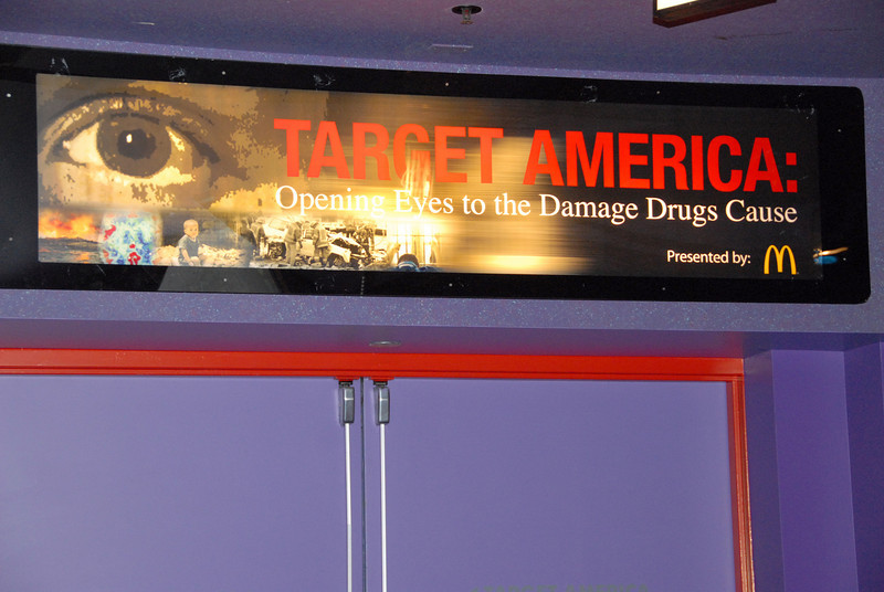 Closed doors at <em>Target America: Opening Eyes to the Damage Drugs Cause</em>.