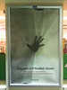 """Anti-drug poster in the window of a gas station in Louisville, Kentucky. It reads, in part, """"Trapped. Controlled. Alone. Also known as meth addiction."""""""