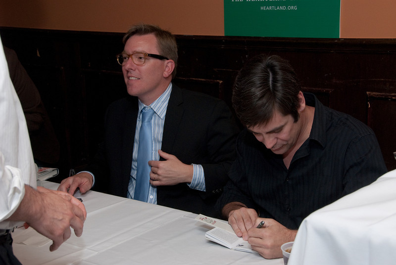 Nick Gillespie and Matt Welch signing their book <i>The Declaration of Independents: How Libertarian Politics Can Fix What's Wrong with America</i> at Jaks Tap in Chicago, August 16, 2011.