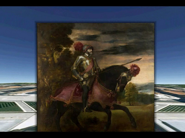 Titian's Emperor Carlos V on Horseback as Digitized by Google. This is a screen capture demonstrating the zoom-in capability of Google Earth.