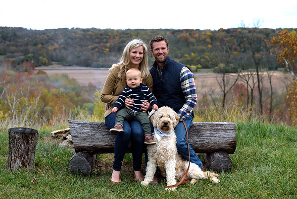 Fall Family Photo with One Year Old and Dog