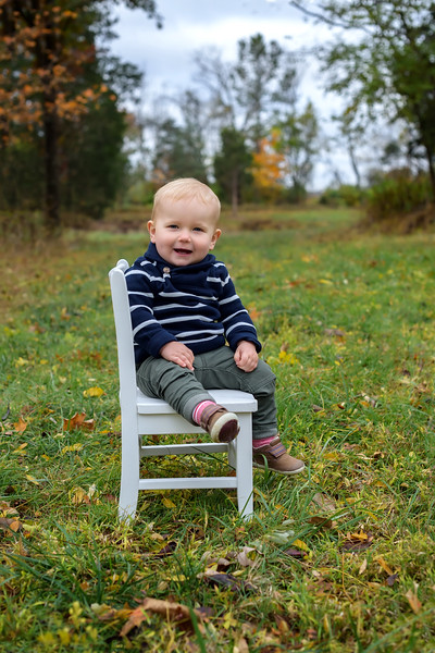 Fall Photo Session with One Year Old Boy on Harrison Farm