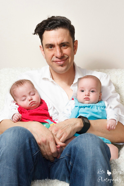 Father and his baby girl twins